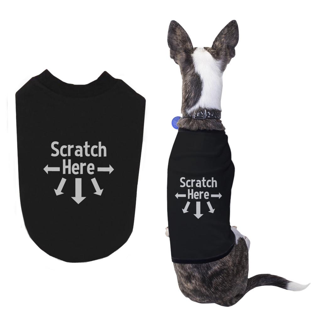 Scratch Here Dog Shirts Cute Black Pet Tshirts Funny Dog Apparel